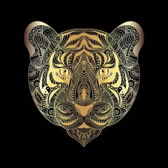 Tatuaje de cara de tigre dorado sobre fondo negro ilustración vectorial