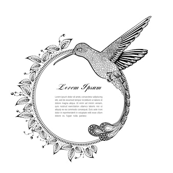 Tatuaje de colibrí. psicodélico, estilo zentangle. marco para texto sobre un fondo blanco