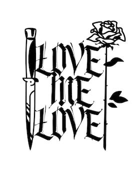 Un tatuaje con un cuchillo y una rosa.