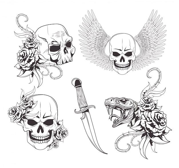 Tatuaje de dibujo de la vieja escuela