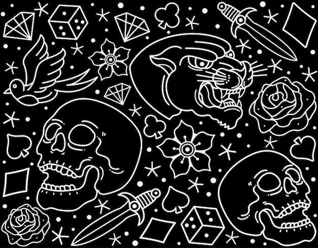Tatuaje flash tradicional de patrones sin fisuras