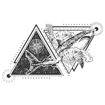 Tatuaje geométrico de tiburón