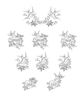 Tatuaje de golondrinas con la inscripción de papá mamá en cinta. ilustracion vectorial tatuaje, vieja escuela americana.
