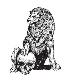 Tatuaje león y calavera mano dibujo boceto aislado