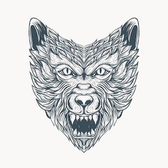 Tatuaje de lobo de arte lineal