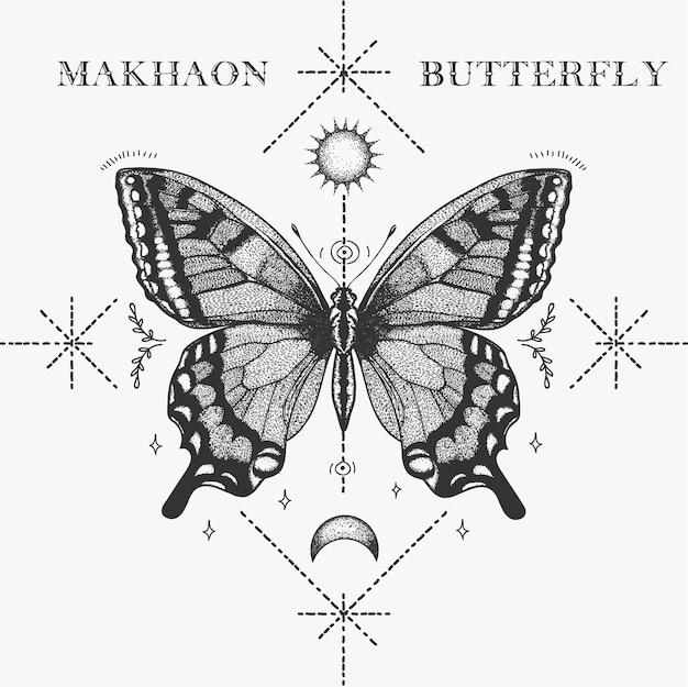 Tatuaje de mariposa makhaon