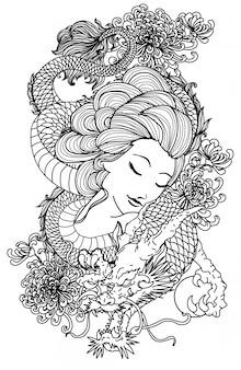 Tatuaje mujeres y dragón dibujo a mano boceto en blanco y negro
