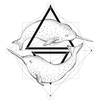 Tatuaje de narvales. ilustración de vector de geometría con triángulos y animales marinos. boceto de logotipo en estilo vintage hipster.