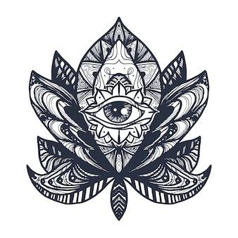 Tatuaje ojo en loto