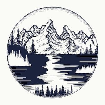 Tatuaje de paisaje de montañas y ríos