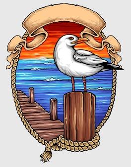 Tatuaje del pájaro del océano náutico