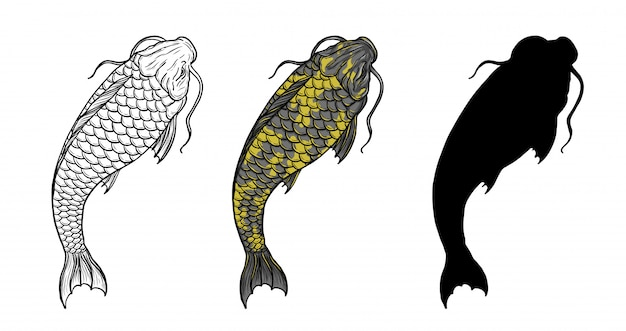 Tatuaje de pez koi con dibujo a mano.