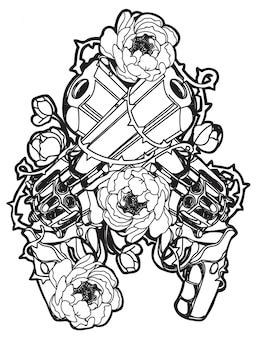 Tatuaje de pistola y flor