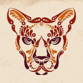 Tatuaje de puma, ilustración de decoración de símbolo de color
