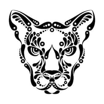 Tatuaje de puma, ilustración de decoración de símbolo