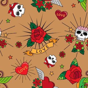 Tatuaje rosas corazones y calaveras vector de patrones sin fisuras