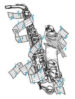 Tatuaje de saxofon y pájaro