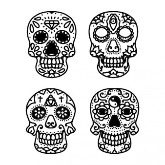 Tatuaje de sugar skull line