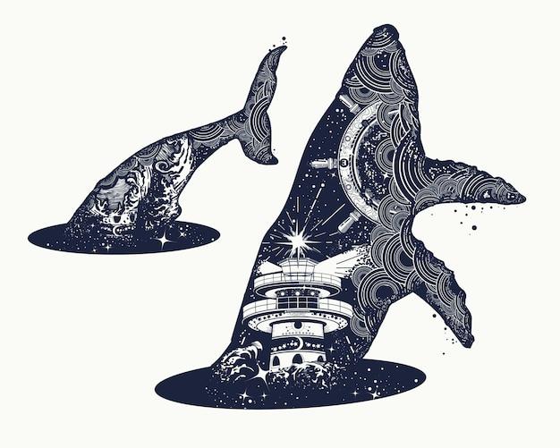 Tatuaje surrealista de doble exposición de ballena.