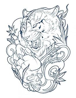 Tatuaje de un tigre malvado con cráneo humano.