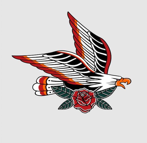 Tatuaje tradicional águila y flor