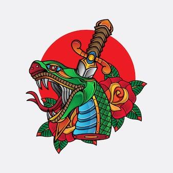 Tatuaje tradicional de cabeza de serpiente