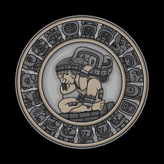 Tatuaje tradicional de símbolos mayas.