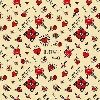 Tatuaje de la vieja escuela de patrones sin fisuras con símbolos de amor. ilustración vectorial. diseño para san valentín, zancos, papel de envolver, embalajes, textiles