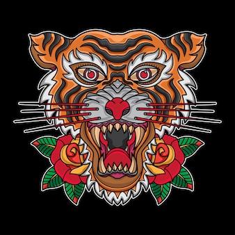 Tatuajes de cabeza de tigre tradicionales de la vieja escuela