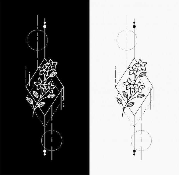 Tatuajes de flores dibujan manos geométricas