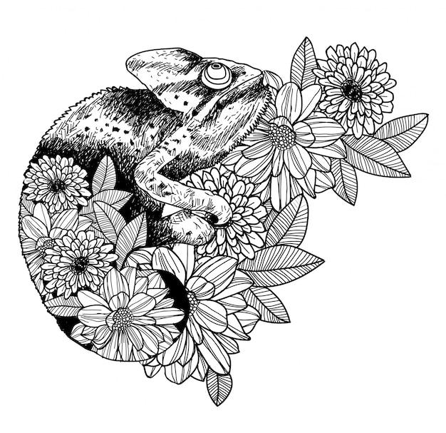 Tatúe el dibujo y el bosquejo de la mano del camaleón del arte blanco y negro con la línea ilustración del arte aislada