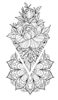 Tatúe el dibujo y el bosquejo de la mano de las flores del arte blanco y negro con la línea ilustración del arte aislada