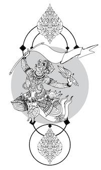 Tatúe el dibujo y el bosquejo de la mano de la literatura del modelo del mono tailandés blanco y negro