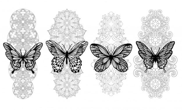 Tatúe el dibujo y el bosquejo de la mano de la mariposa del arte con la línea arte aislada en blanco