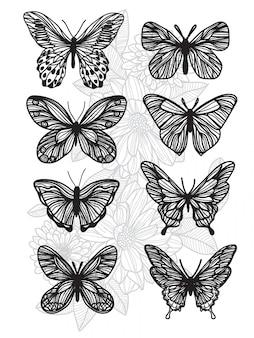 Tatúe el dibujo y el bosquejo de la mariposa del arte con la línea ilustración del arte aislada en el fondo blanco.