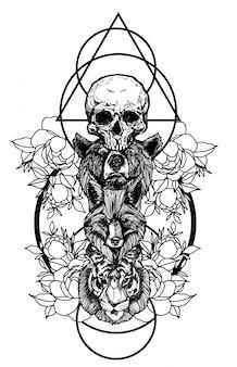 Tatúe el dibujo del bosquejo del oso zorro y de la mano del tigre con la ilustración del arte de línea aislada