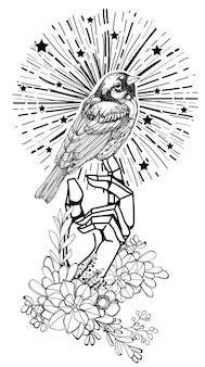 Tatúe el dibujo de la mano del pájaro del arte y el bosquejo blanco y negro con la ilustración del arte de línea aislada