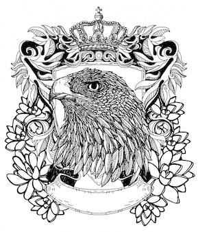 Tatúe el dibujo del símbolo del águila del arte y el bosquejo con la ilustración del arte de línea aislada