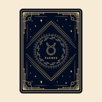 Tauro signos del zodíaco tarjetas del horóscopo constelación estrellas tarjeta decorativa del zodíaco con marco decorativo