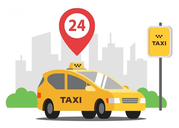 Un taxi las 24 horas está estacionado en el fondo de la ciudad. ilustración vectorial