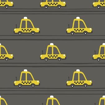 Taxi amarillo coche de patrones sin fisuras. ilustración infantil en estilo escandinavo simple dibujado a mano. la paleta limitada es ideal para imprimir en ropa de bebé, papel digital.