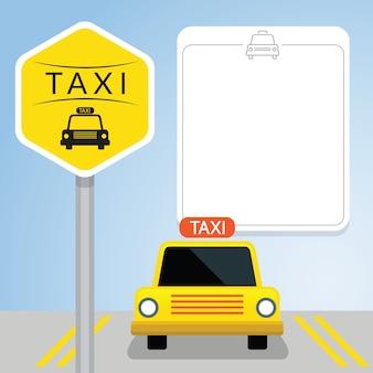 Taxi con cartel, vista frontal, espacio en blanco