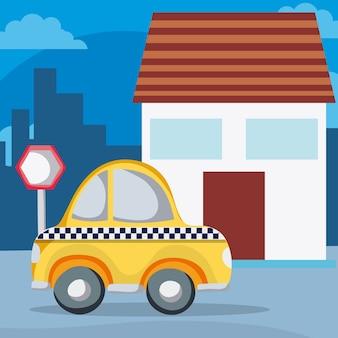 Taxi en diseño gráfico del ejemplo del vector del barrio