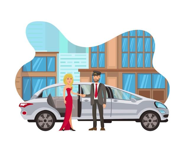 Taxi para evento especial plana ilustración aislada