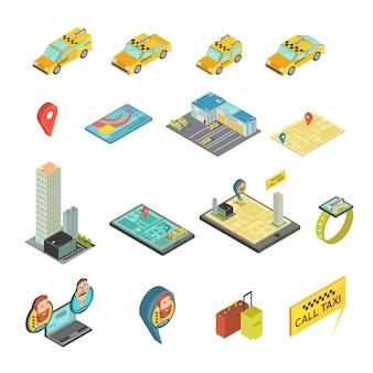 Taxi y gadgets conjunto isométrico que incluye autos, casas, tarjetas de pago, mapa, reloj inteligente, ilustración de vector de equipaje aislado