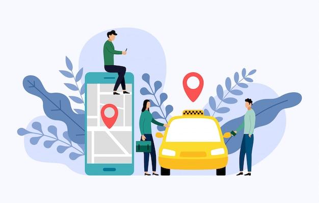 Taxi, transporte móvil de la ciudad, ilustración de negocios