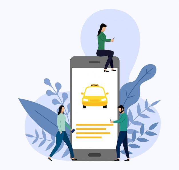 Taxi, transporte móvil de la ciudad, ilustración de vector de concepto de negocio