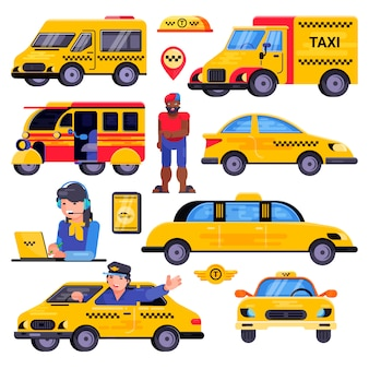 Taxi vector taxista transporte conductor hombre personaje en transporte de coche amarillo