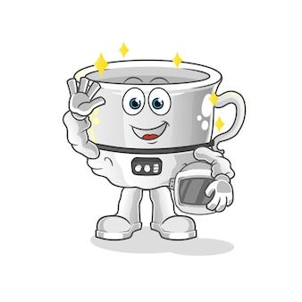 Taza de astronauta agitando mascota mascota de dibujos animados. mascota de dibujos animados mascota