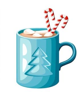 Taza azul de chocolate caliente o café con bastón de caramelo y malvaviscos ilustración sobre fondo blanco.